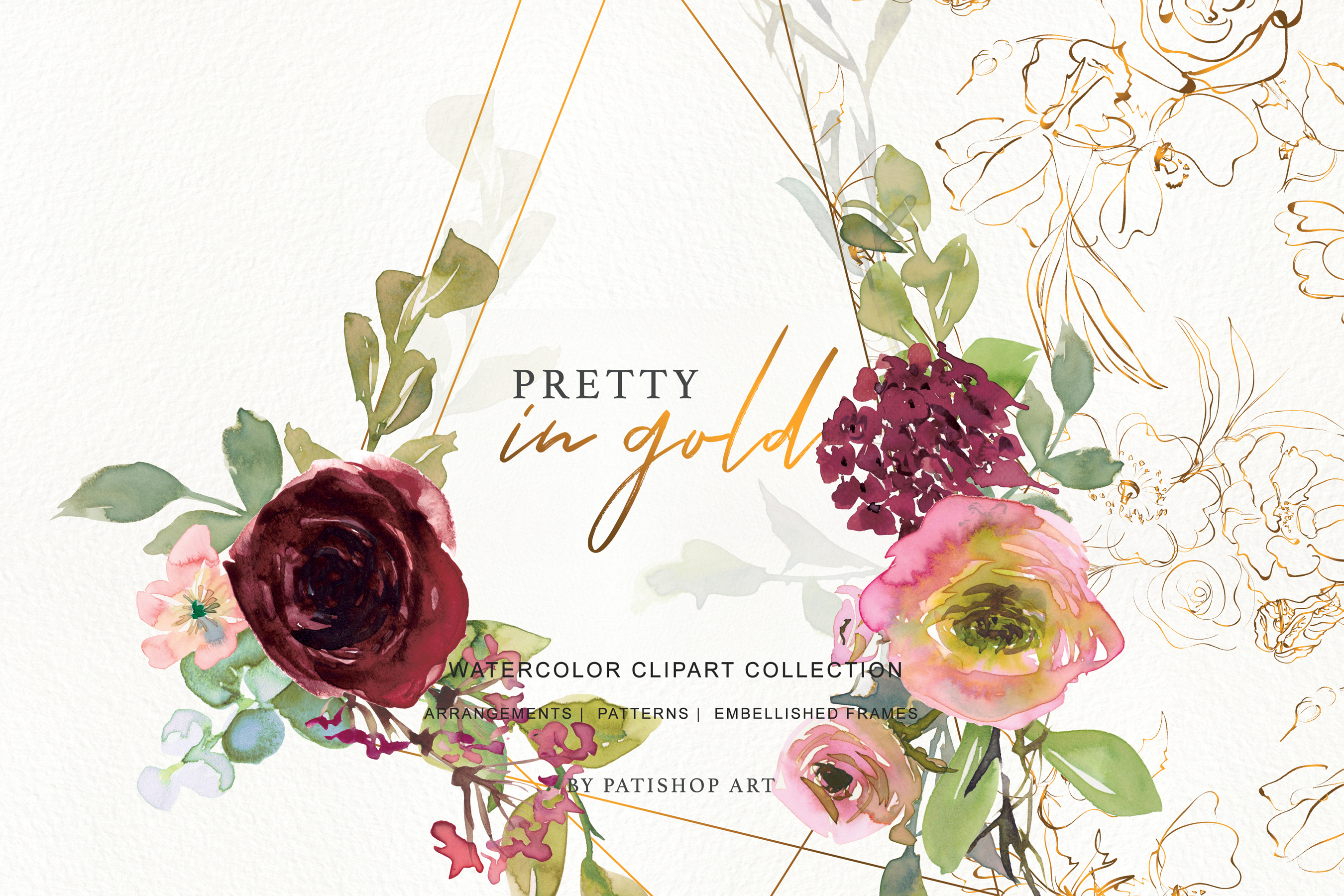 Watercolor Burgundy Blush and Gold Floral Bouquet Clipart example image 10
