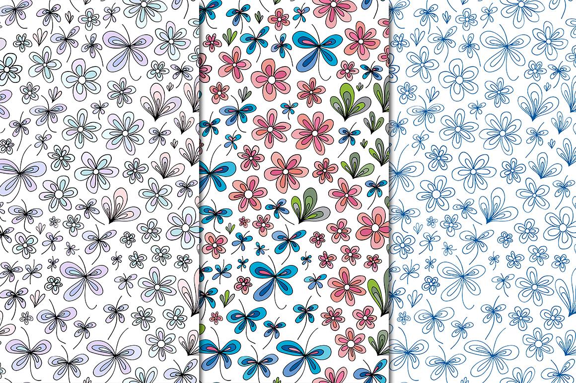 Floral summer patterns set. example image 2