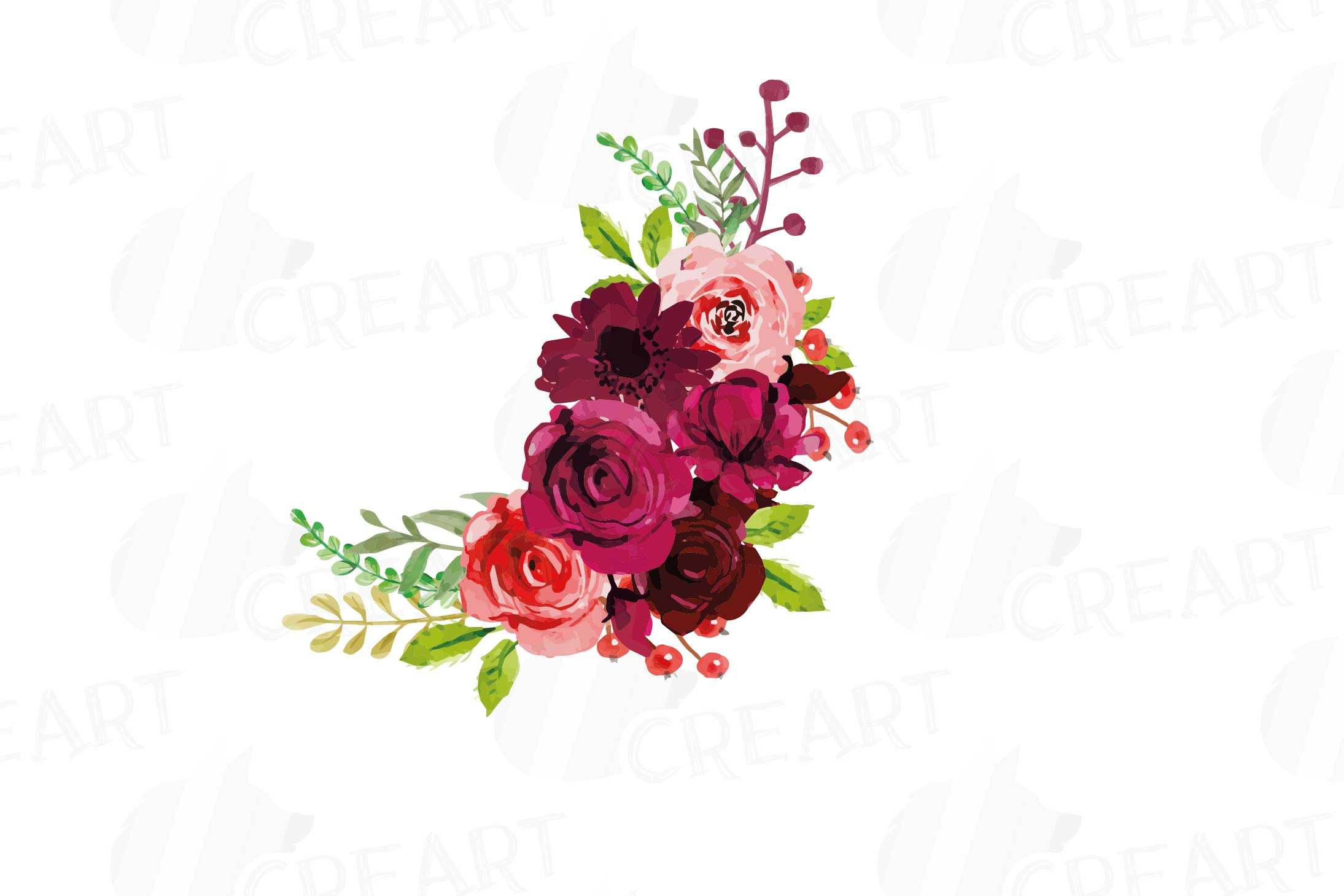 Boho Burgundy Red Watercolor clip art, floral bouquets png ...