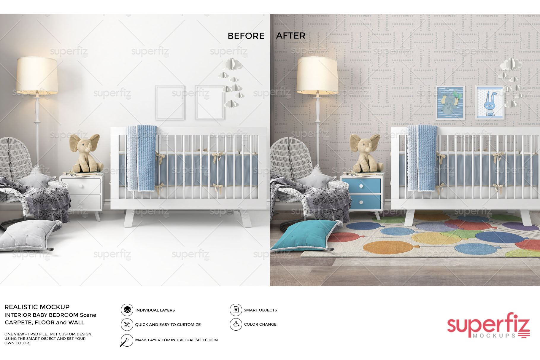 Wallpaper, floor, carpet and frame Mockup Baby Bedroom SM60 example image 1