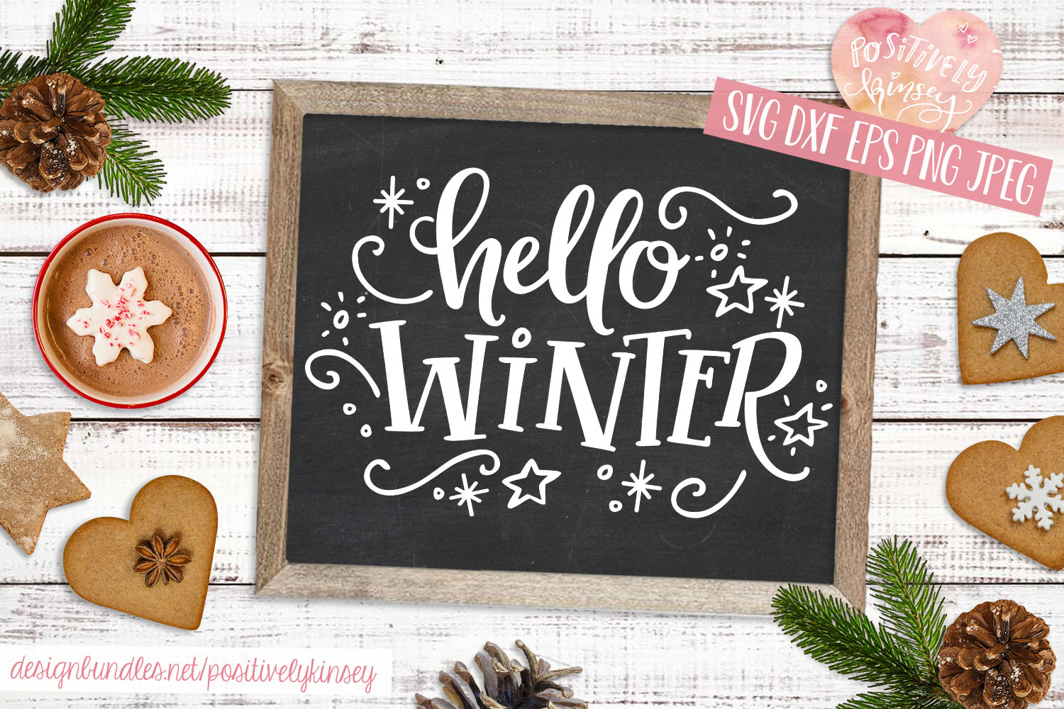 Hello Winter SVG DXF PNG EPS, Winter Sign SVG Design example image 2