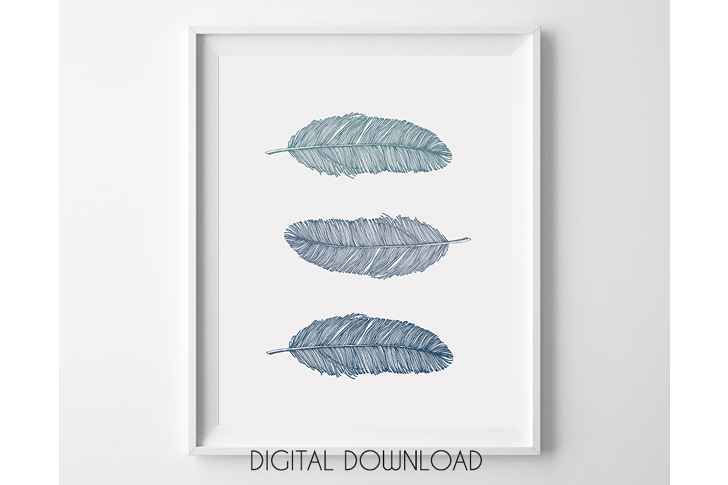 Blue Feather Prints, Bohemian Wall Art Blue, Nursery Poster example image 1