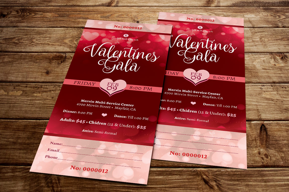 Red Hearts Valentines Gala Ticket Template example image 3