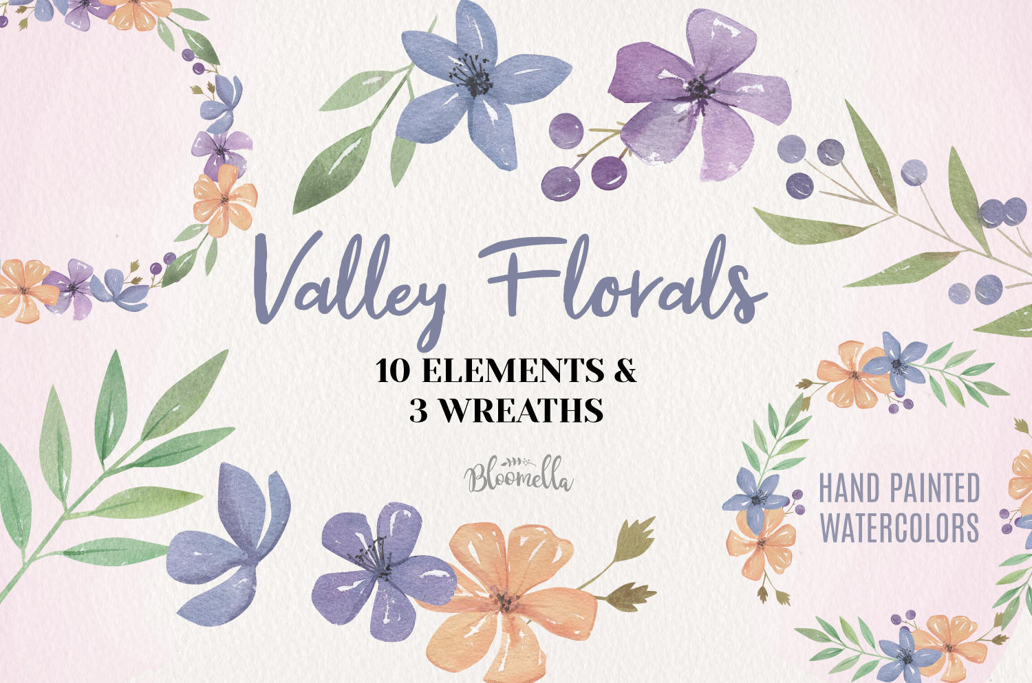 Valley Floral Watercolor Elements & Wreaths example image 1