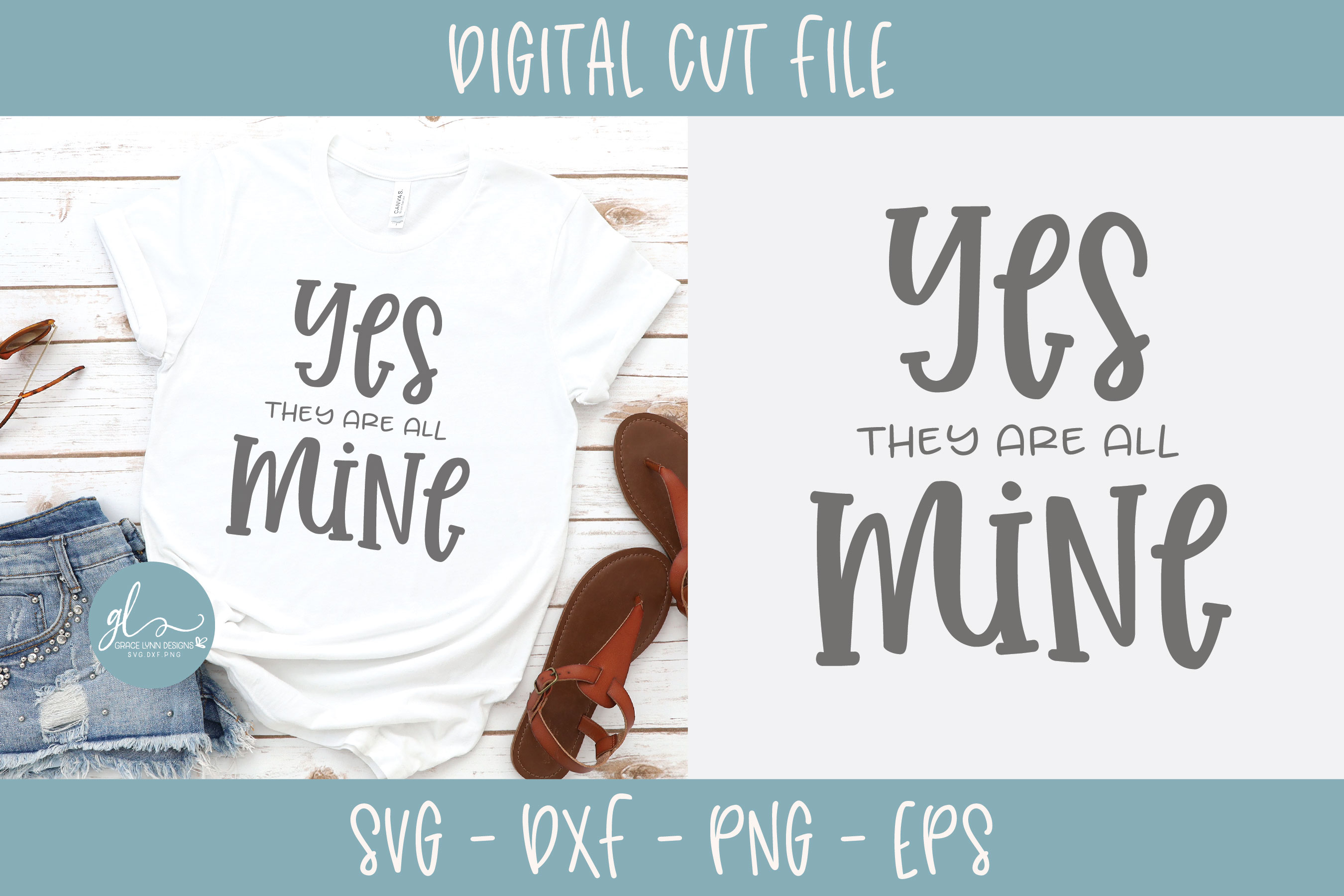 Yes They Are All Mine - SVG Cut File example image 1