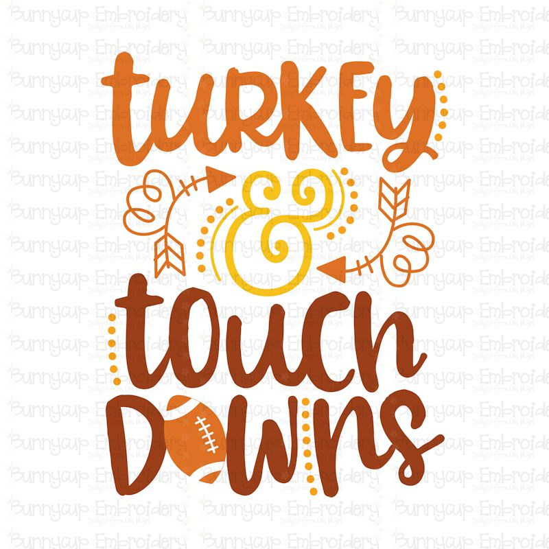 Turkey And Touch Downs- SVG, Clipart, Printable example image 2