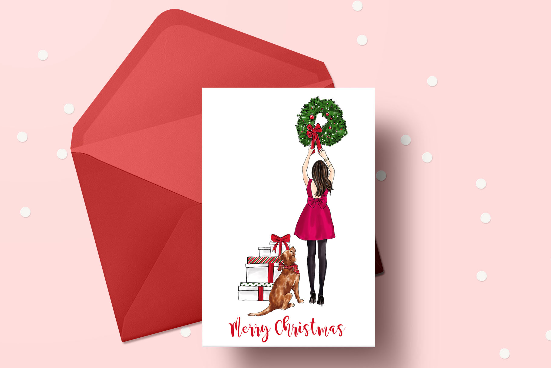 Fashion illustration - Christmas Girl 7 - Brunette example image 5