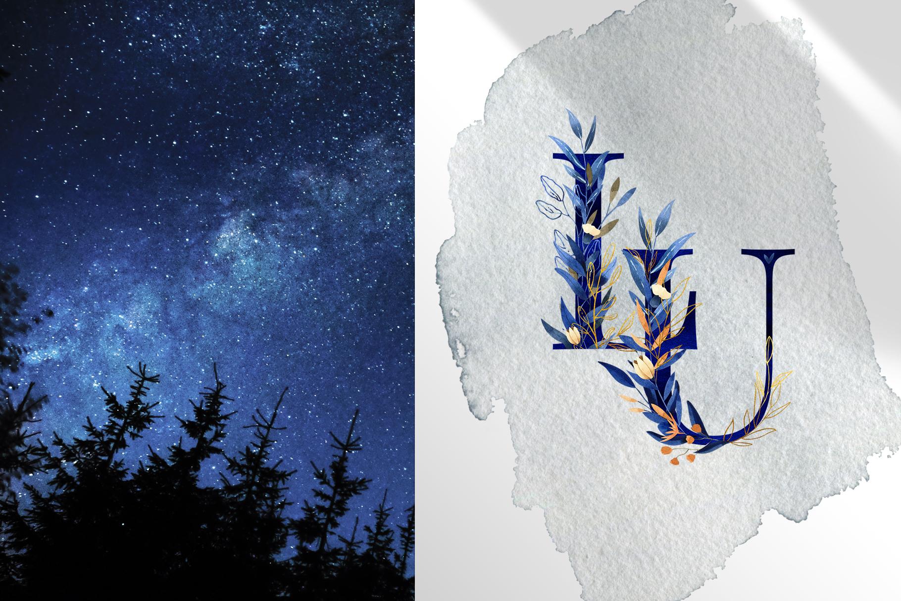 Deep Blue Alphabet Watercolor Design Kit example image 14