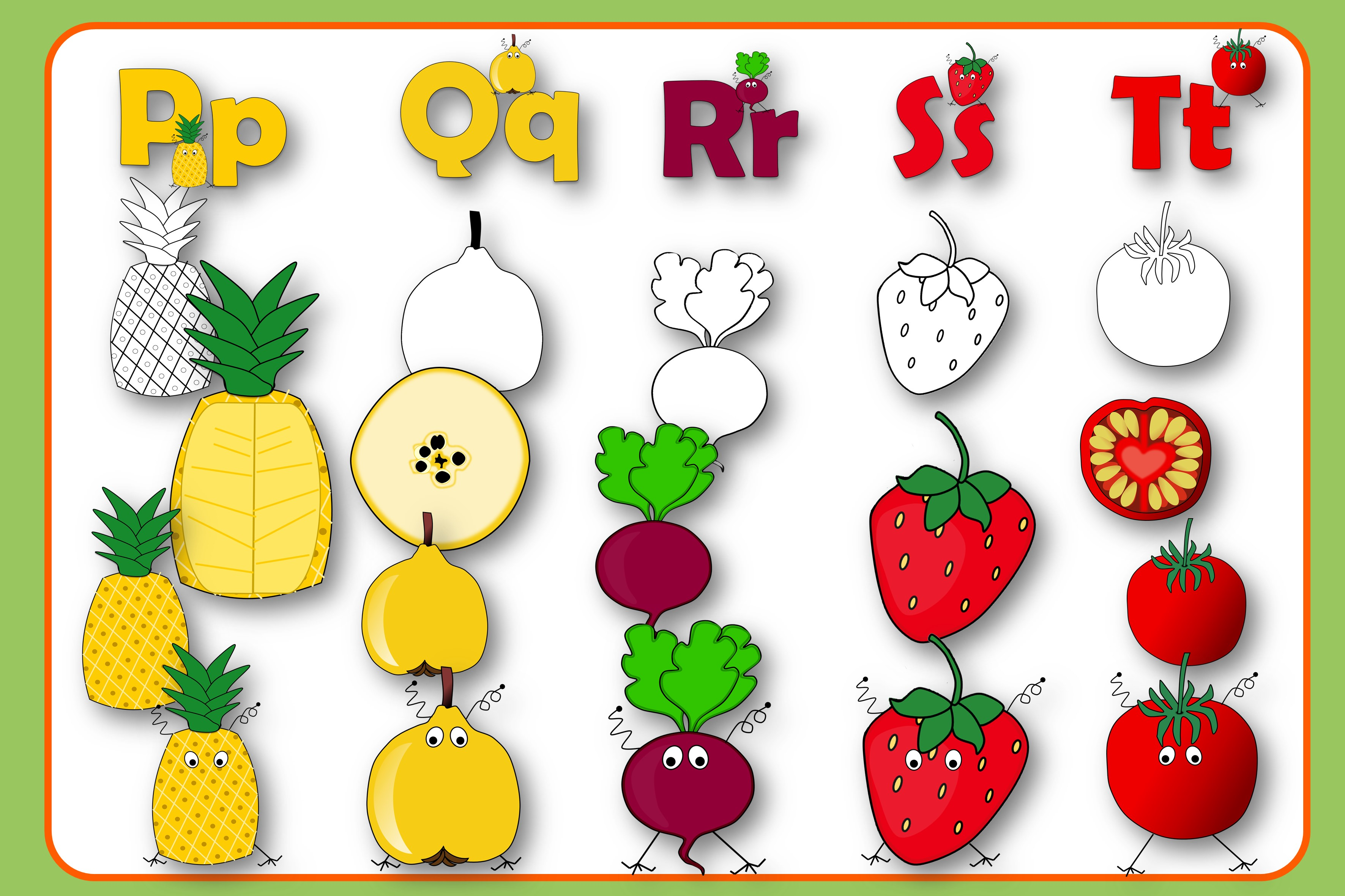 Alphabet of Fruits and Vegetables with Monsters example image 5
