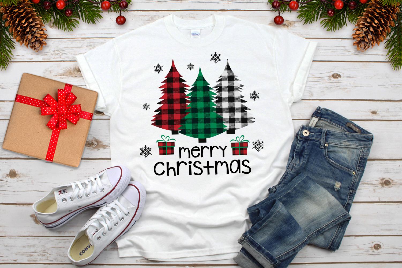 Merry Christmas, Buffalo Plaid Trees Svg example image 3