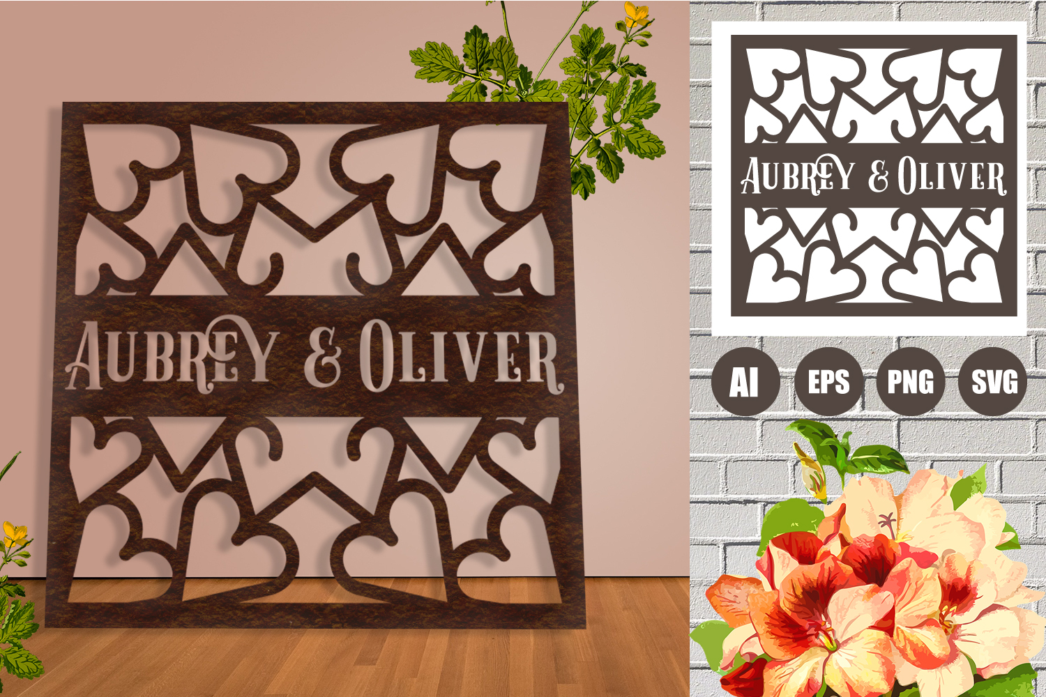 Wedding Hearts Frame Paper Cut SVG, AI, EPS example image 3