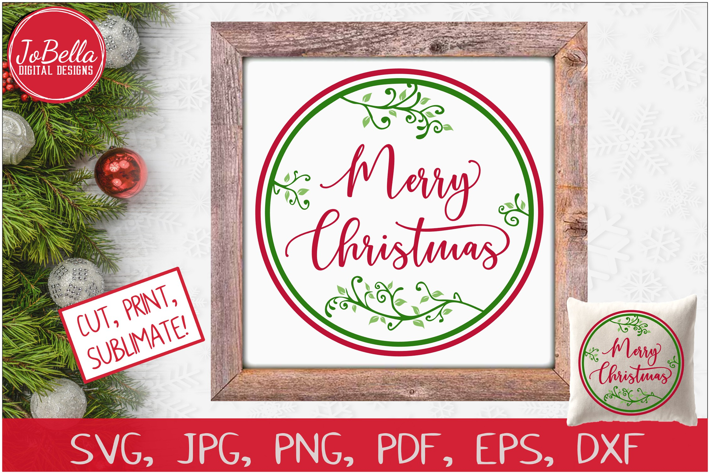 Round Vines Merry Christmas SVG Printable & Sublimation PNG example image 1