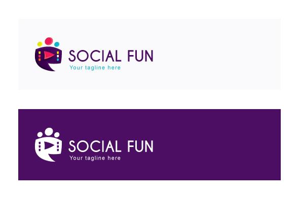 Social Fun - Chat Box Stock Logo Template example image 2
