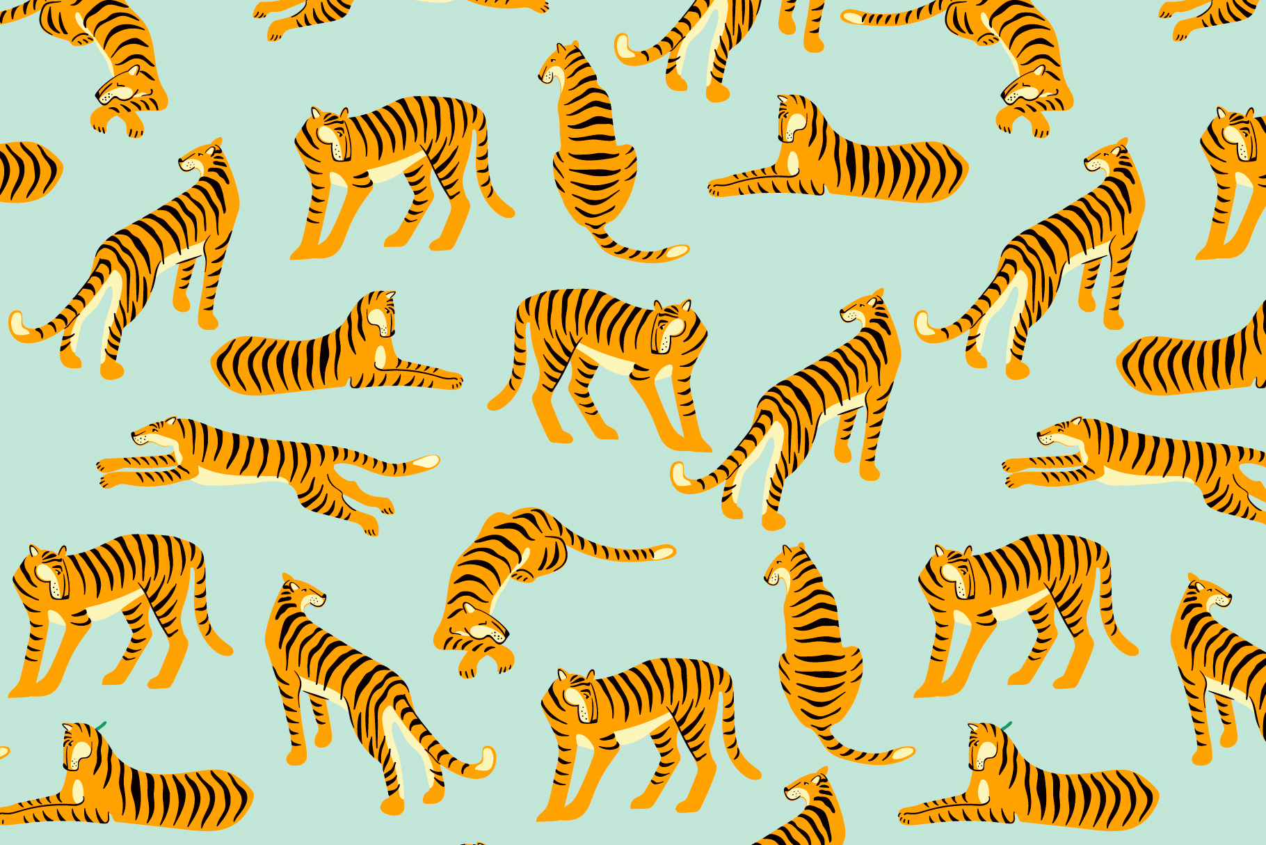 Tiger collection. Patterns & clipart example image 9