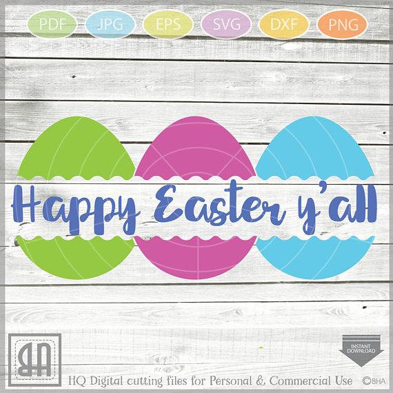 Easter Eggs monogram SVG, Split Easter Eggs, Egg Cut file example image 4