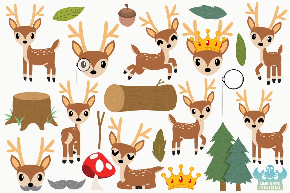 Bucks Clipart, Instant Download Vector Art, Commercial Use example image 2