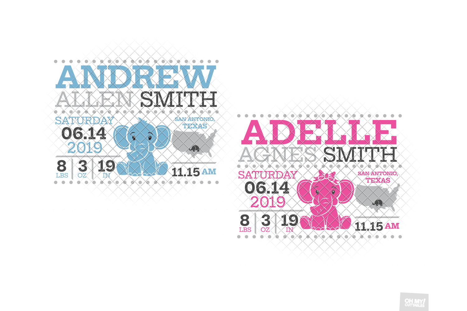 Elephant Birth Announcement SVG Ear Birth Stats Template example image 6