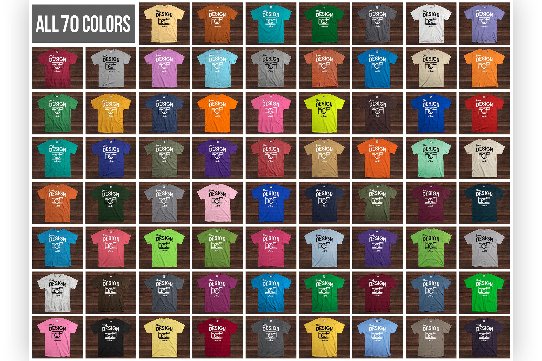 Wooden Background 70 Color Gildan Tshirt Mockup Bundle example image 2