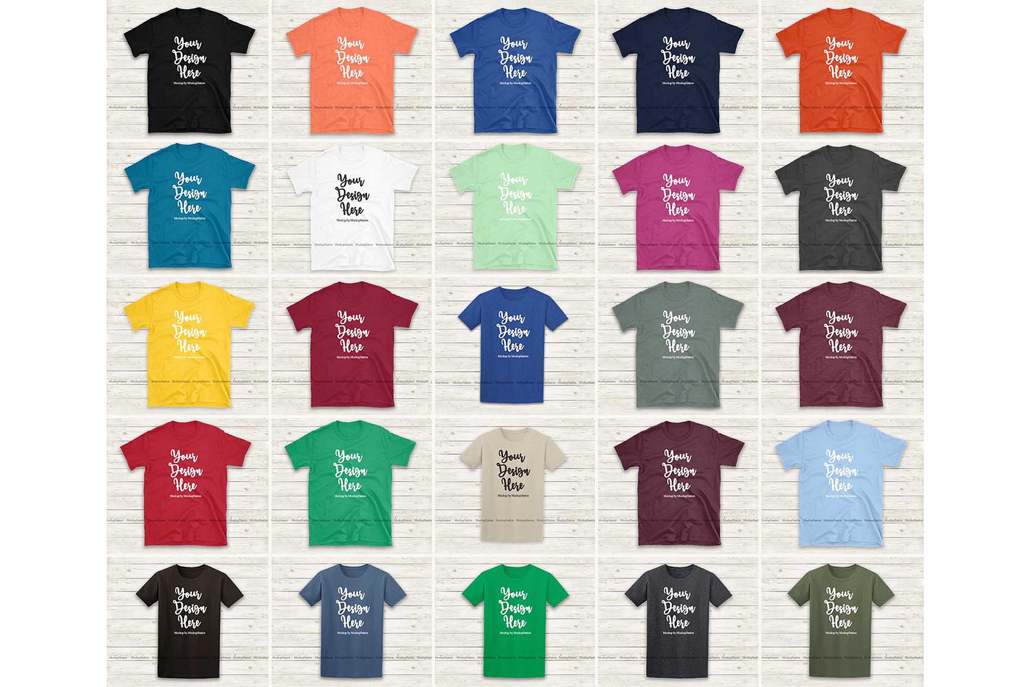 Tshirt Mockup Bundle 25 Colors Gildan 64000 Shirt Flat Lay example image 2