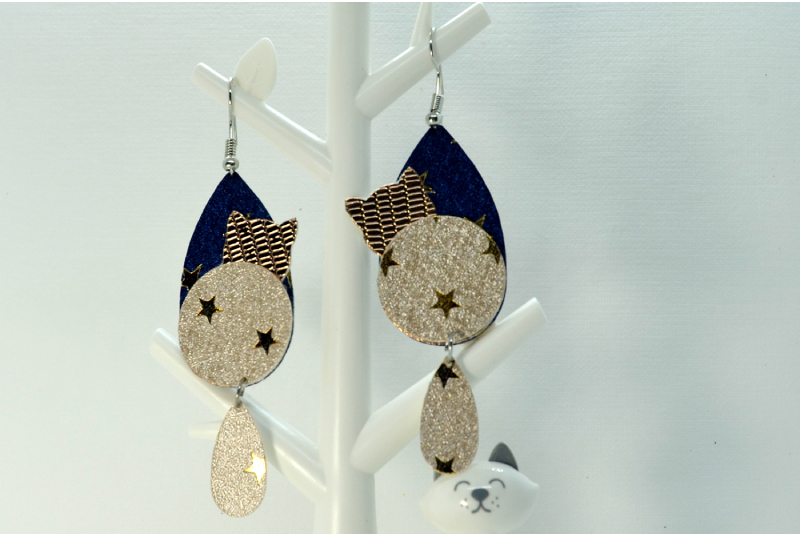 Cat earrings template SVG, DIY earrings template example image 3