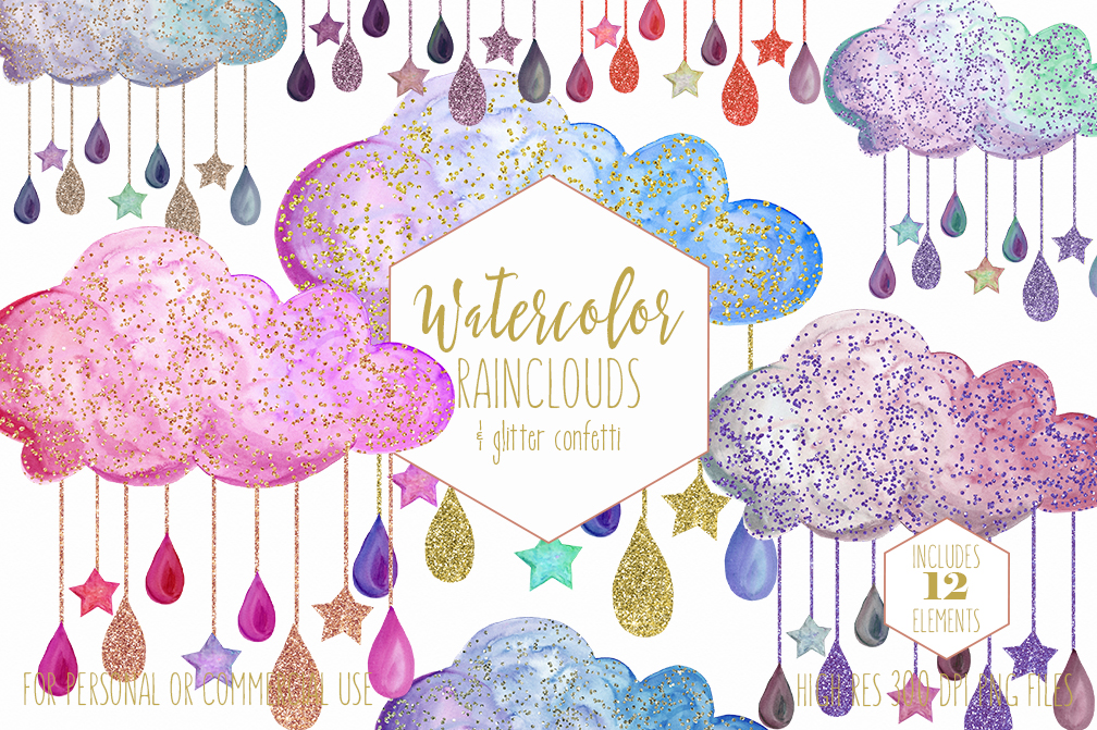 Cute Rainbow Watercolor Rain Clouds & Rain Drops with Metallic Gold Glitter Confetti Baby Shower Clipart Nursery Graphics Set example image 1