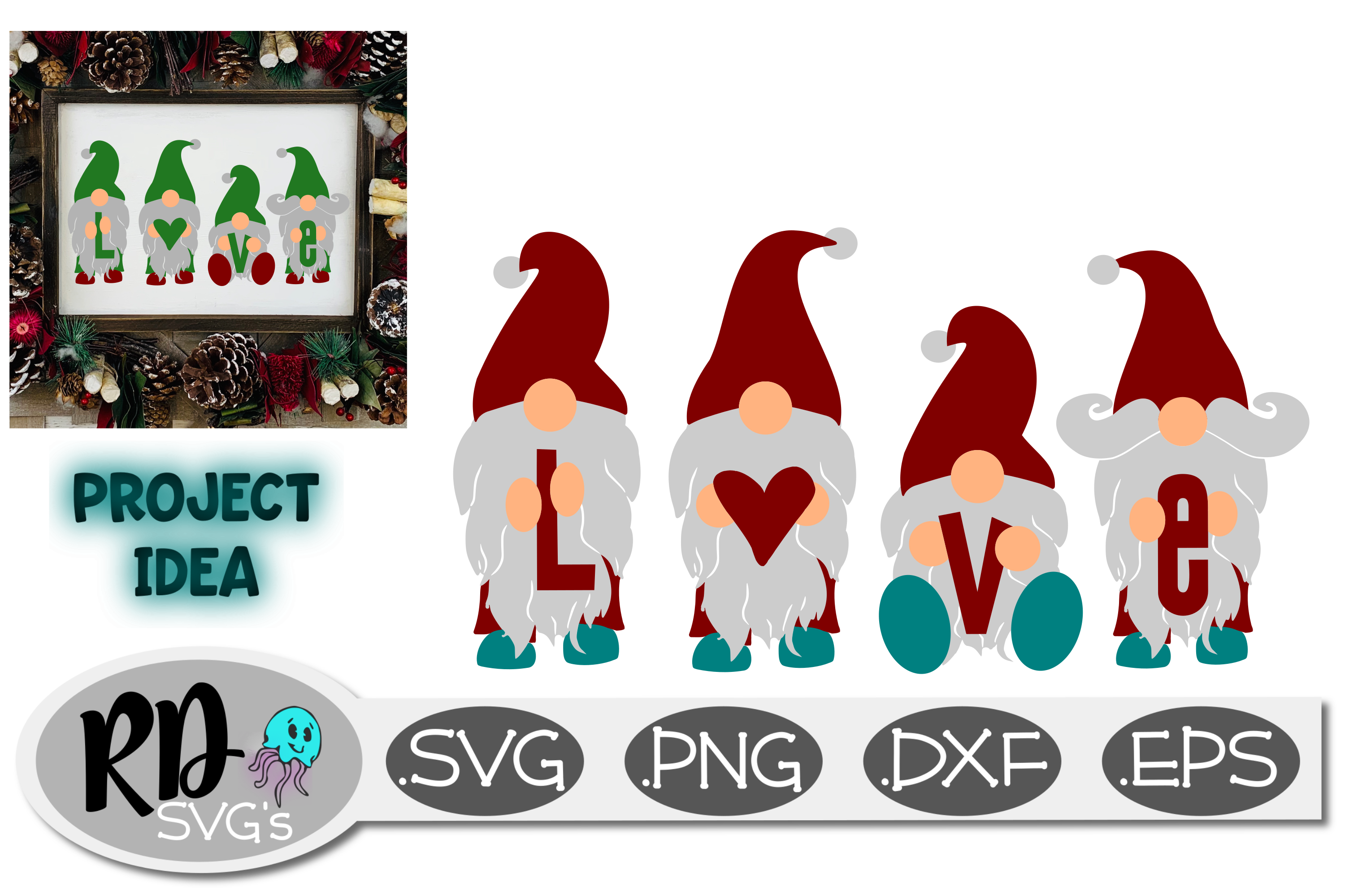 Download Gnome LOVE - A Cricut or Silhouette Christmas Cutting File