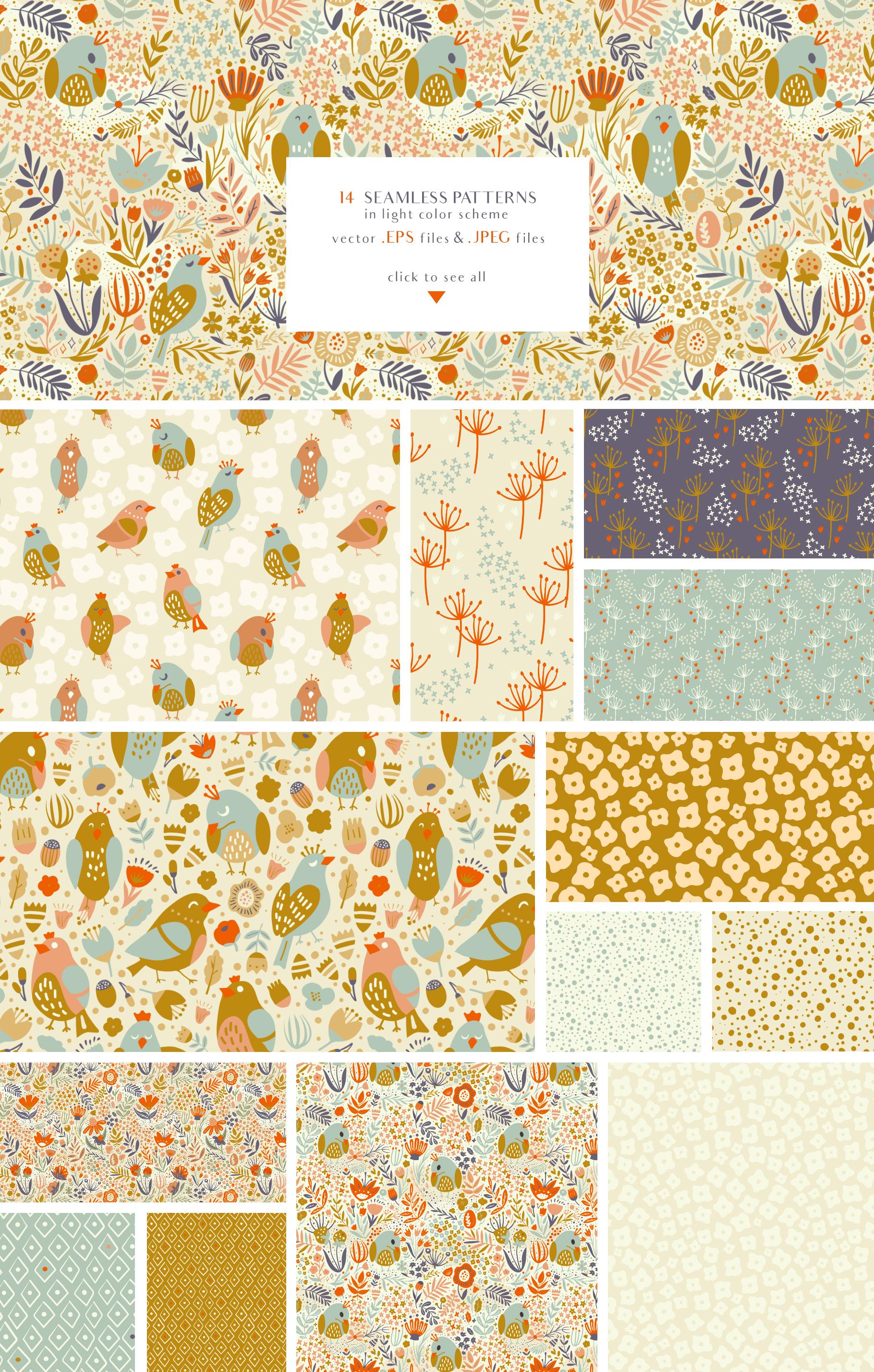 Birds Garden - Seamless Patterns Set example image 3
