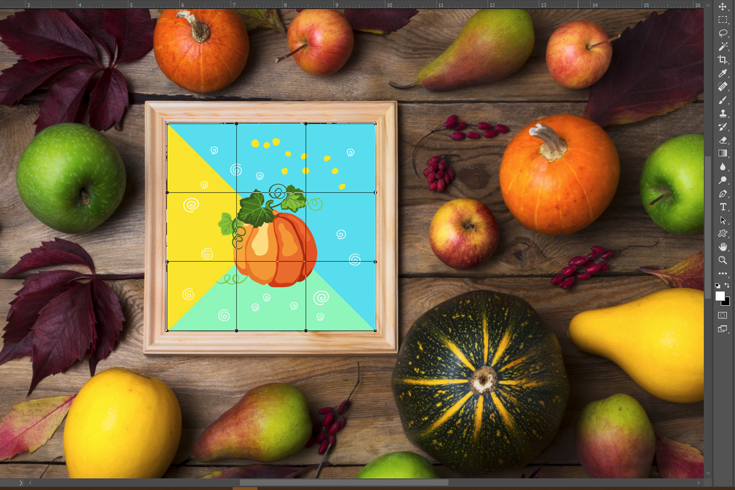 Rustic square frame mockup with pumpkins, pears example image 2