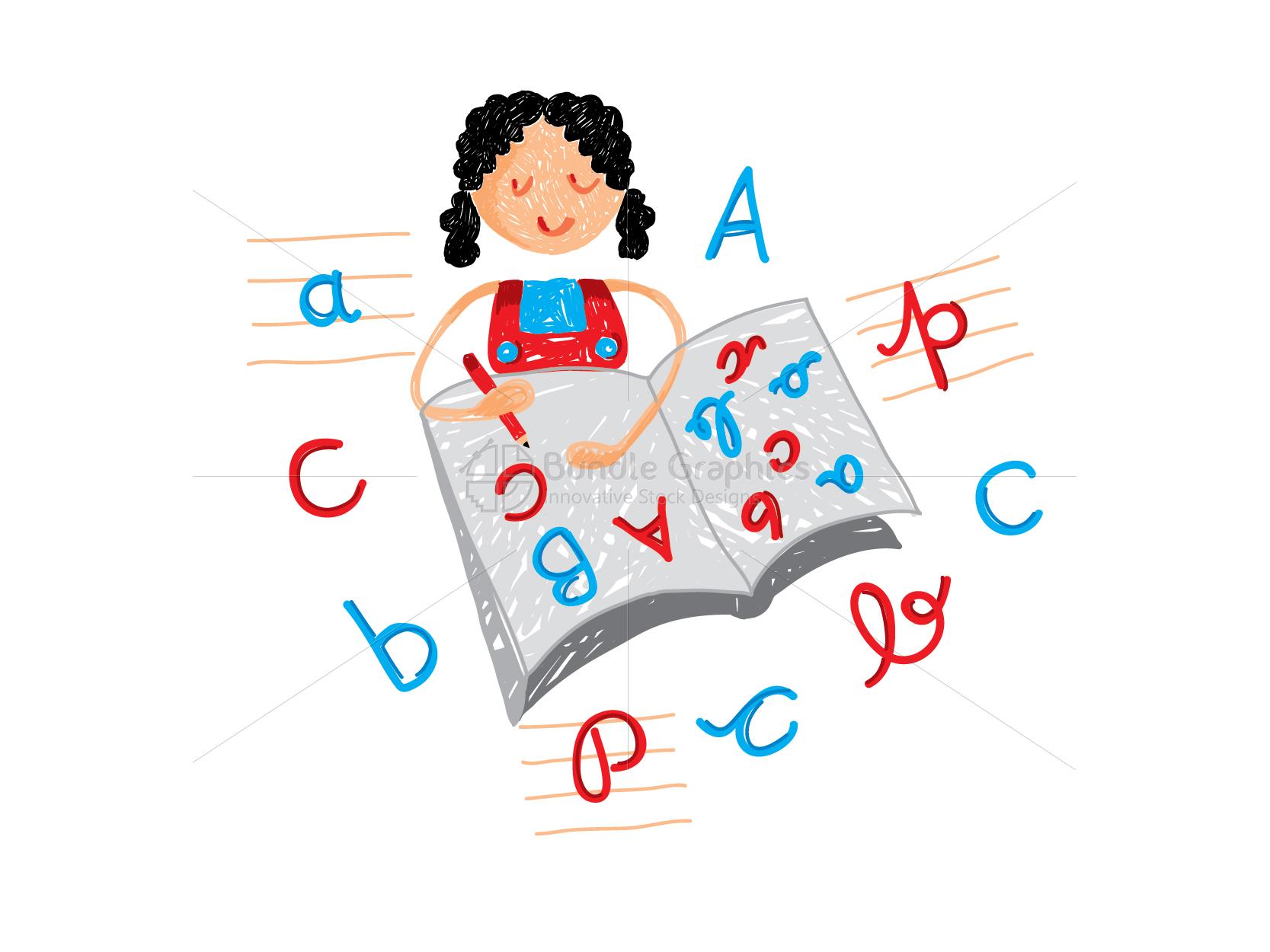 Kid Writing Alphabets Graphical Illustration example image 2