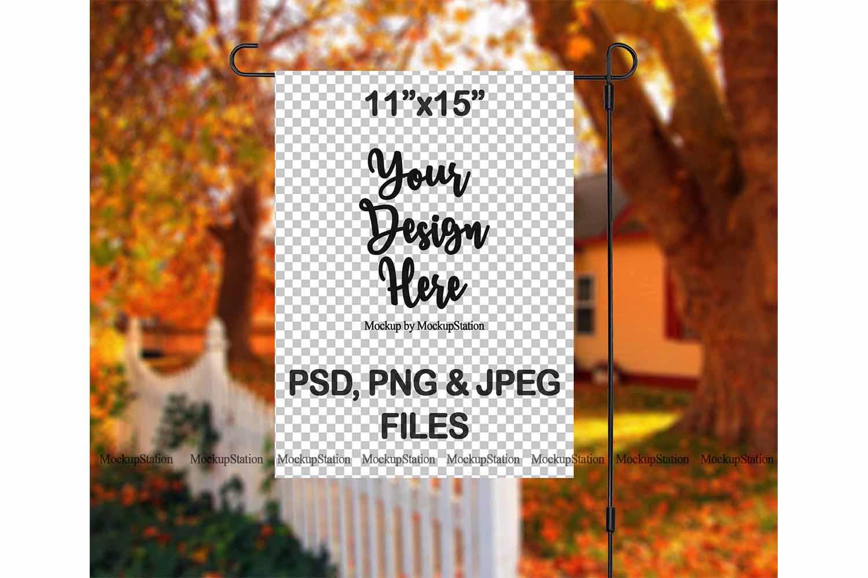 Fall Garden Flag Mockup PSD File, Autumn Flag Mock Up example image 2