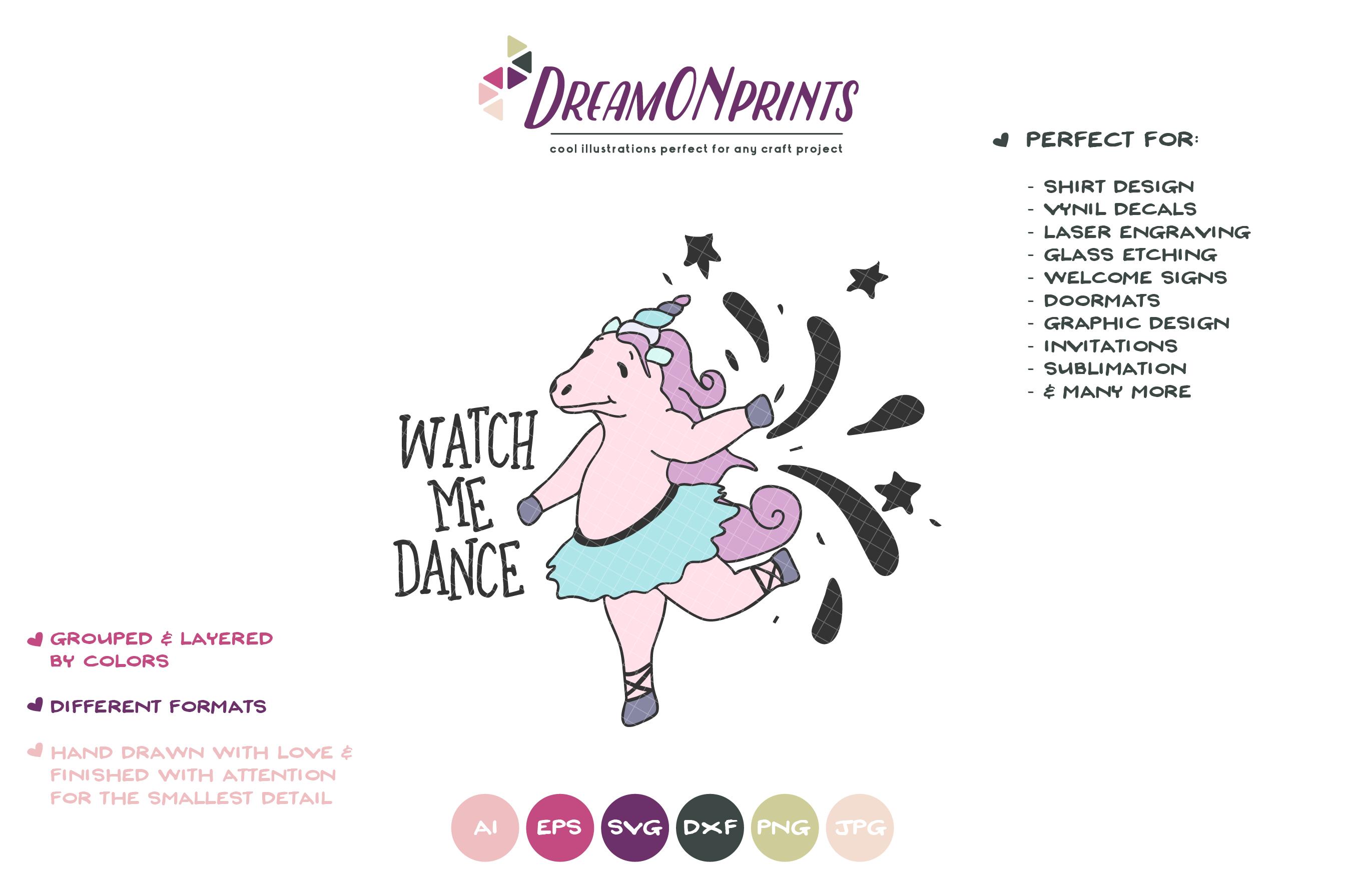 Watch Me Dance | Unicorn SVG | Dancing Unicorn example image 2