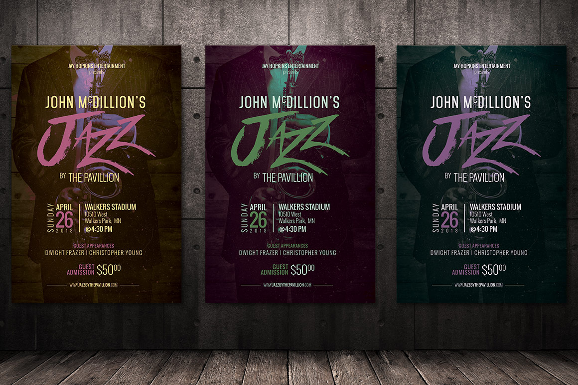 Jazz Concert Flyer Poster Template example image 3