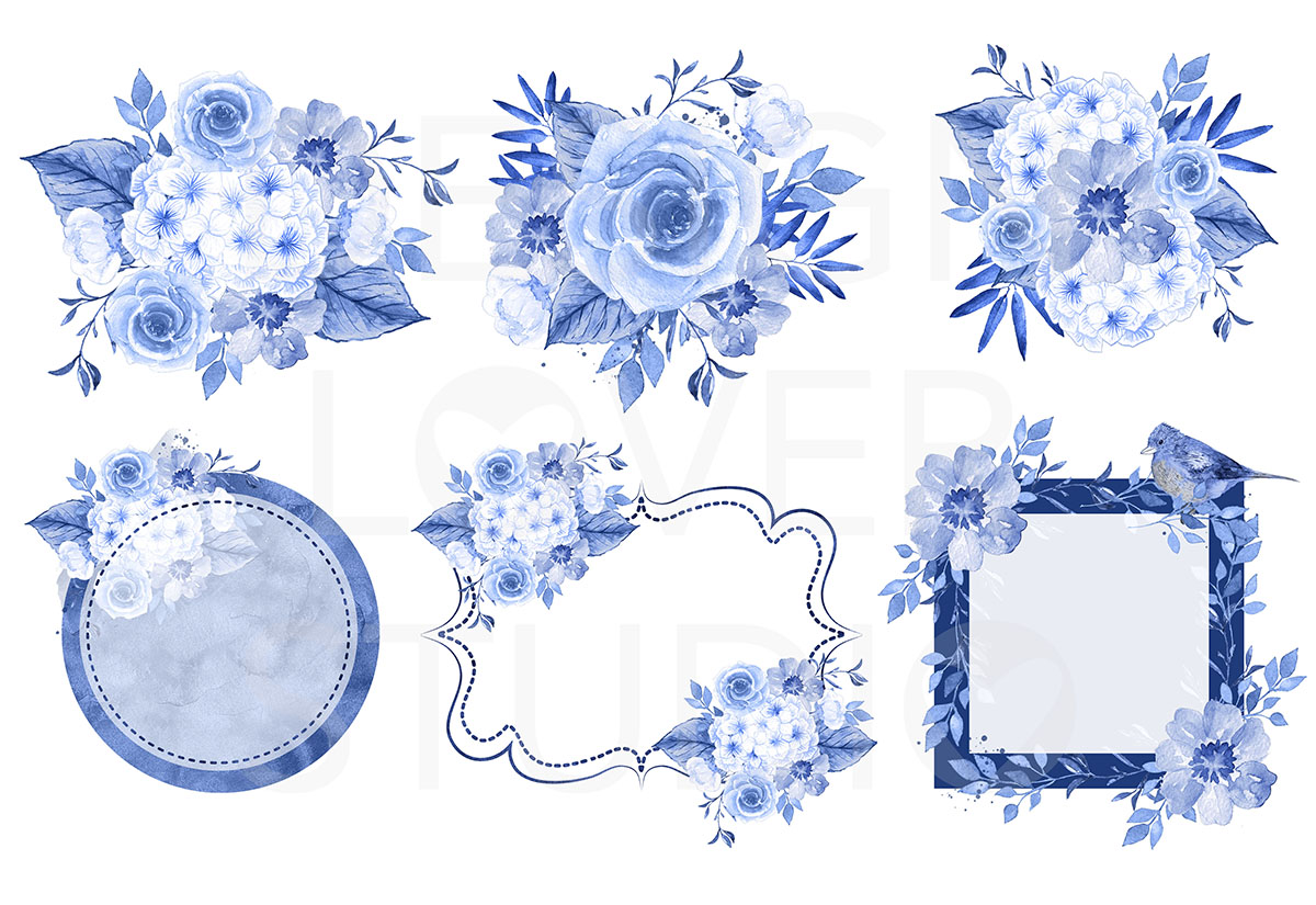 Watercolor BLUE FLOWERS design example image 2