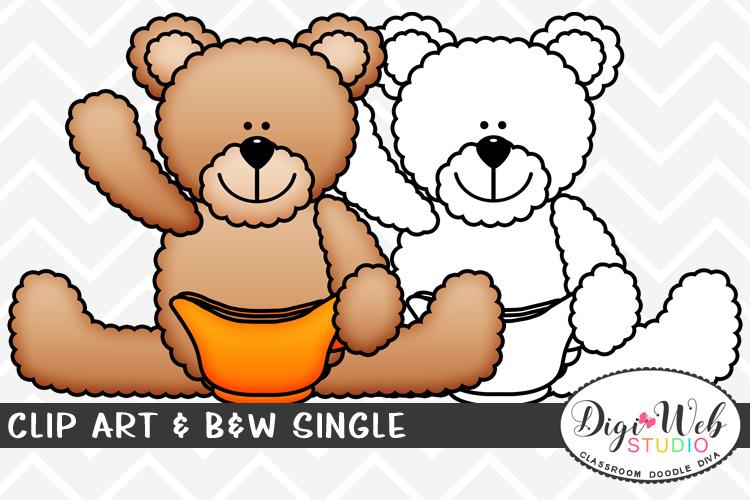Clip Art & B&W Single - Thanksgiving Bear w/ Gravy Boat example image 1