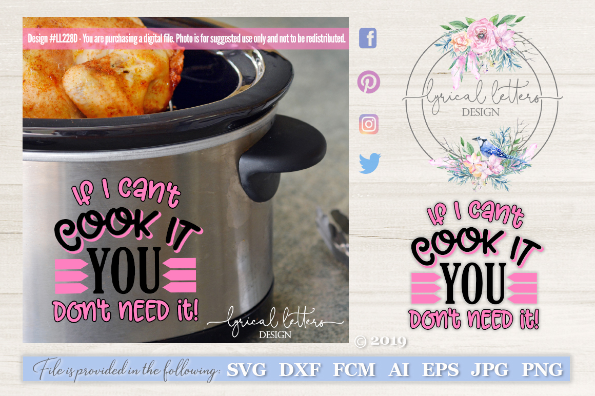 Slow Cooker Pressure Cooker If I Can't Cook It SVG LL228D example image 1