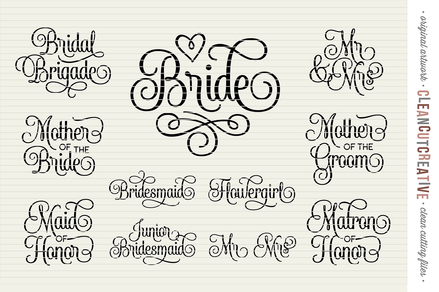 Bridal Party - Wedding Party - SET of 11 - SVG DXF EPS PNG example image 3