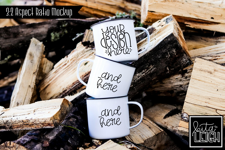 Three Stack White Campfire Mug Mockup Bundle example image 6