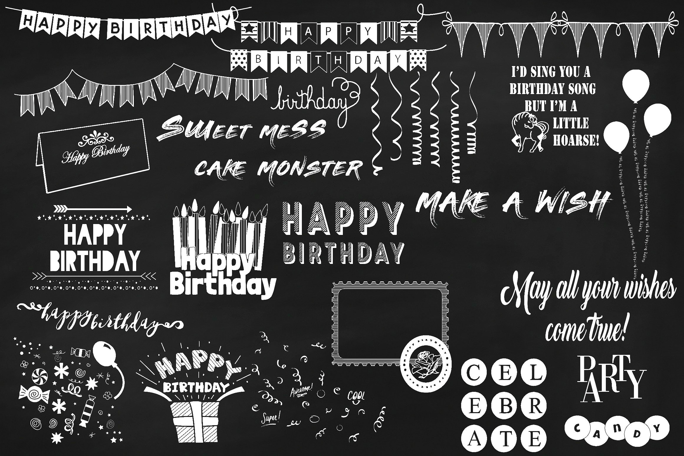 Chalk Birthday Mega Bundle Clip Art example image 3