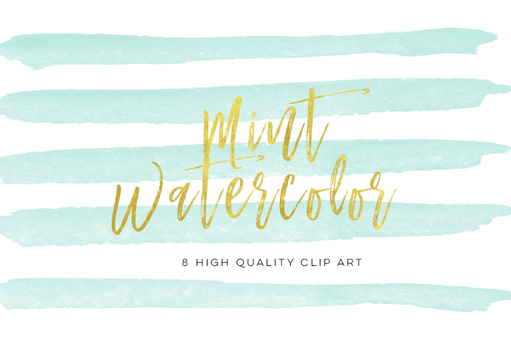 mint watercolor strokes, Green Mint Watercolor Strokes, Wall Art Print, Watercolor clipart strokes banners, Social media Splashes Clipart example image 3
