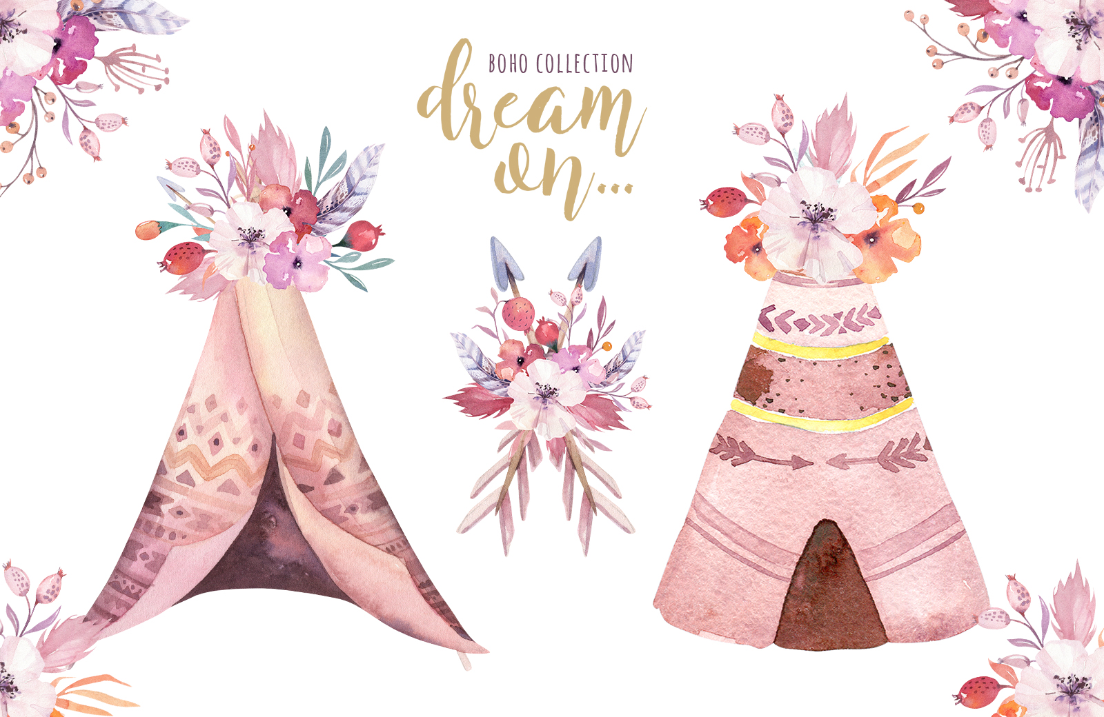 Watercolor teepee collection example image 9