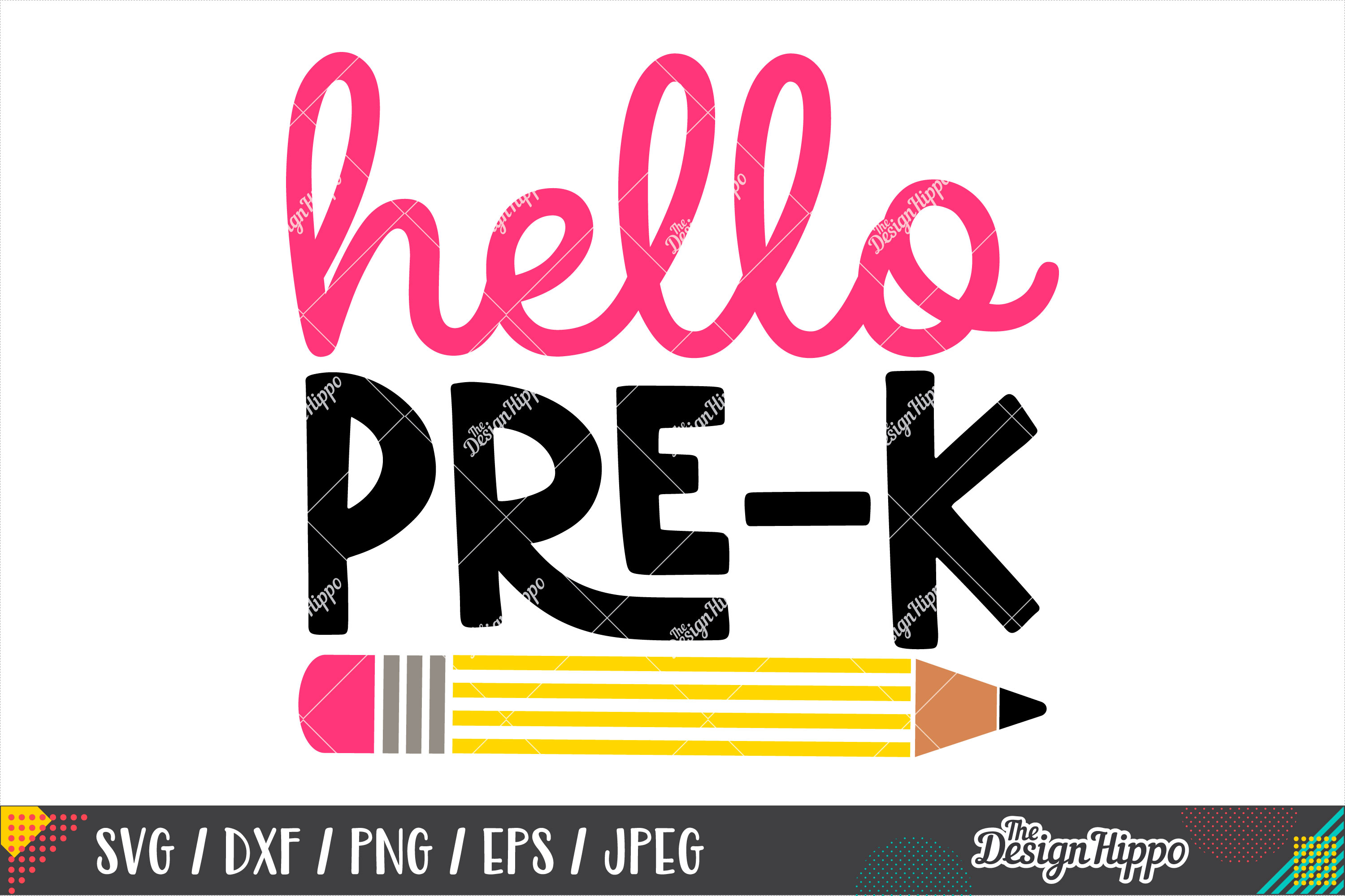 Hello Pre-K SVG, Back To School SVG DXF PNG Cricut Cut Files example image 2