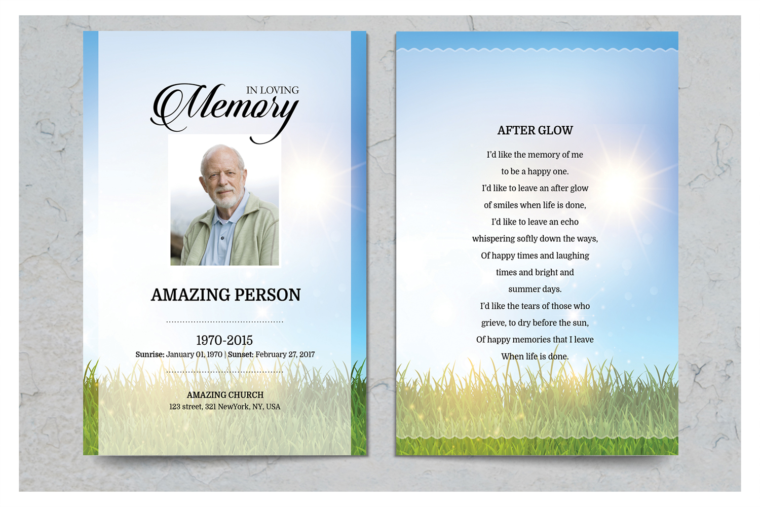 Sky and Grass Funeral Prayer Card Template example image 2