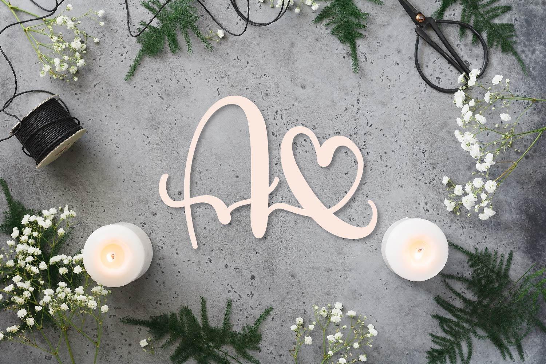Heart Monogram Font - With Bonus Frame Font! example image 4