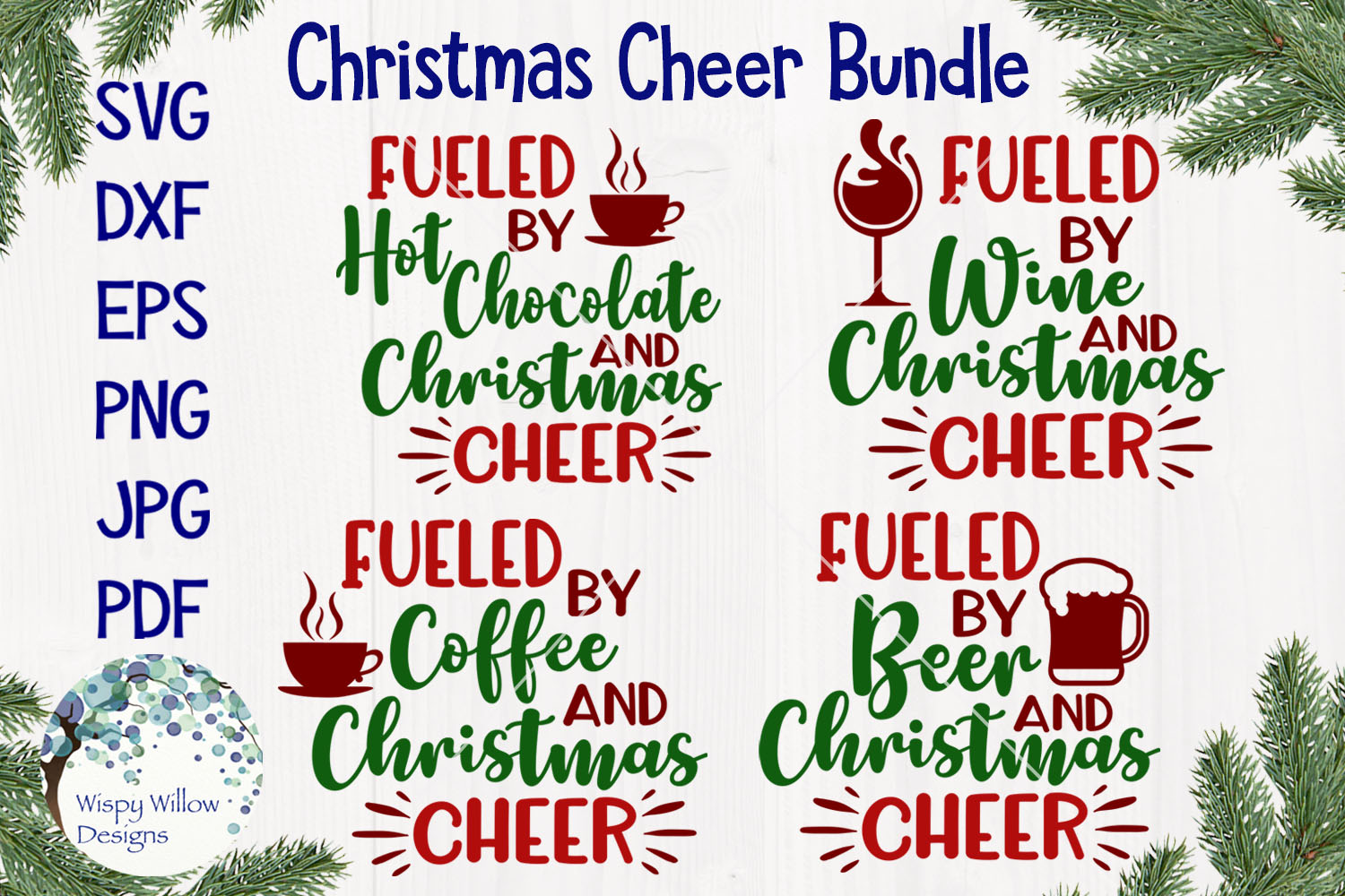 Fueled By Christmas Cheer | Christmas SVG Bundle example image 1