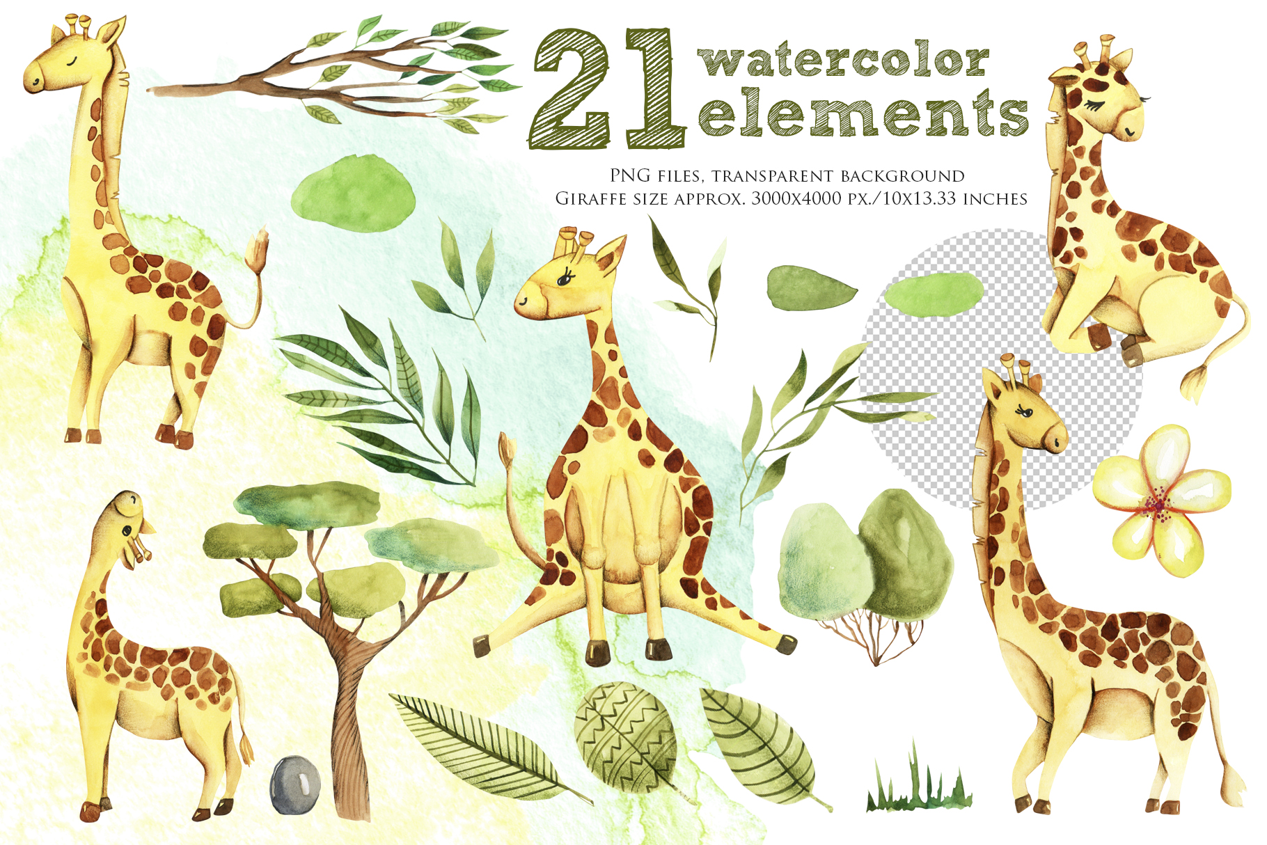 Giraffes. Watercolor clipart. example image 2