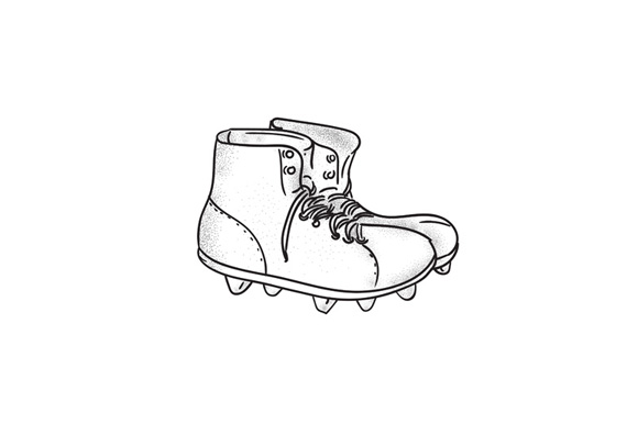 Vintage American Football Boots Drawing example image 1