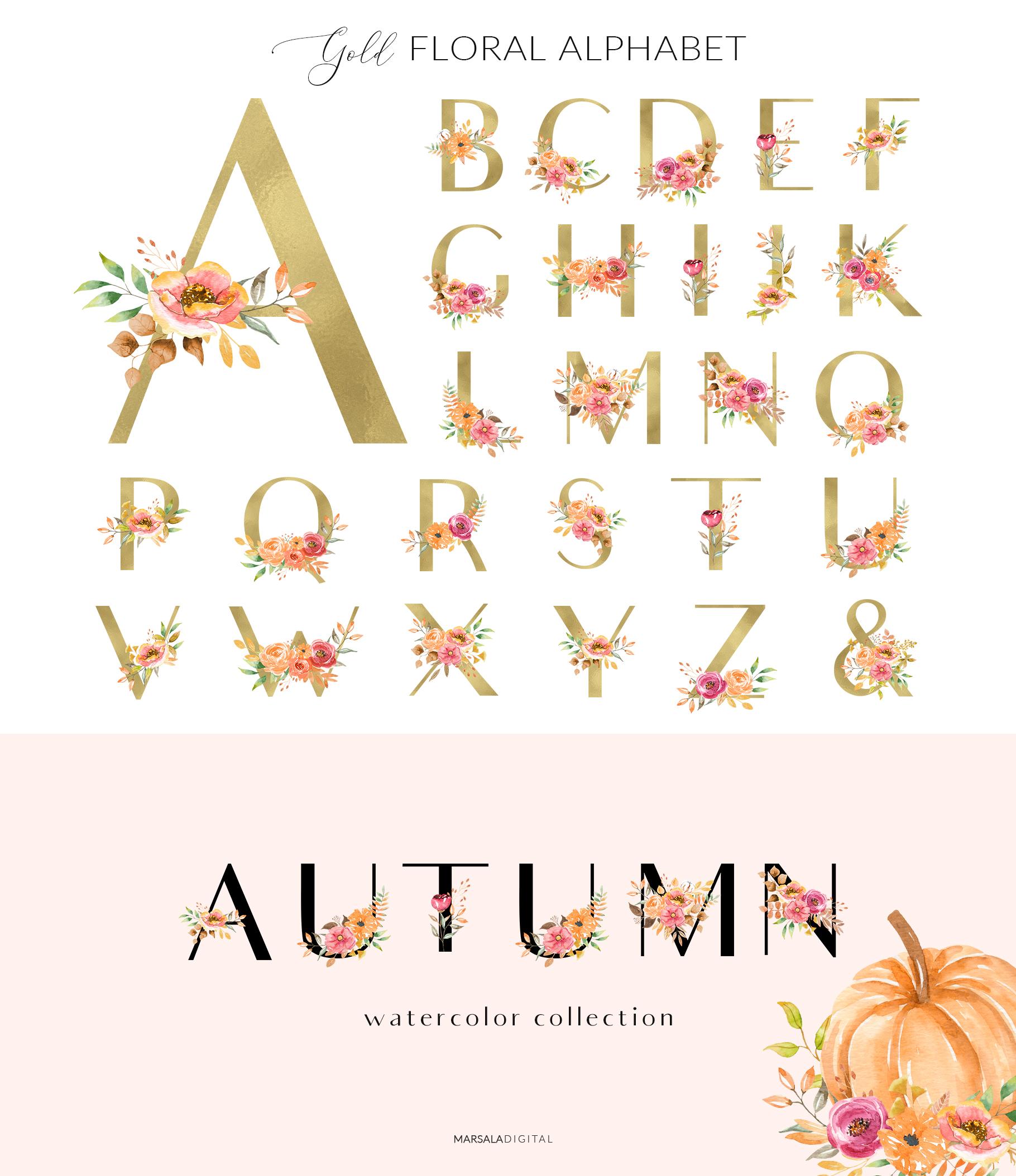 Autumn Watercolor Collection Pumpkins Arrangements example image 7