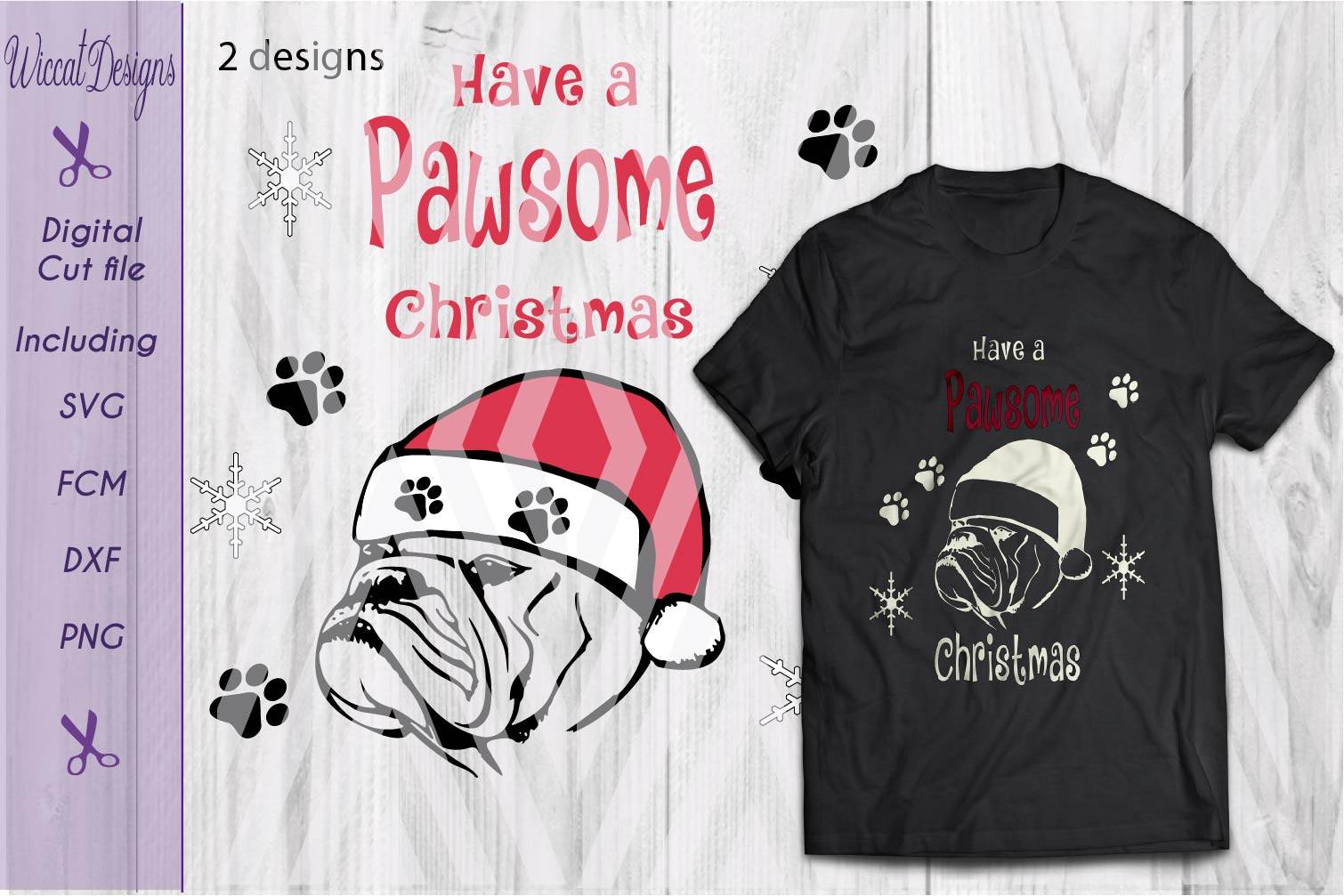 Christmas Bulldog svg, Pawsome svg, santa dog cut file example image 3
