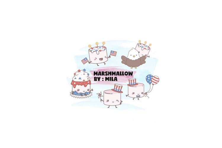 KAWAII MARSHMALLOW INDEPENDENCE DAY CLIPART BUNDLE PNG example image 1
