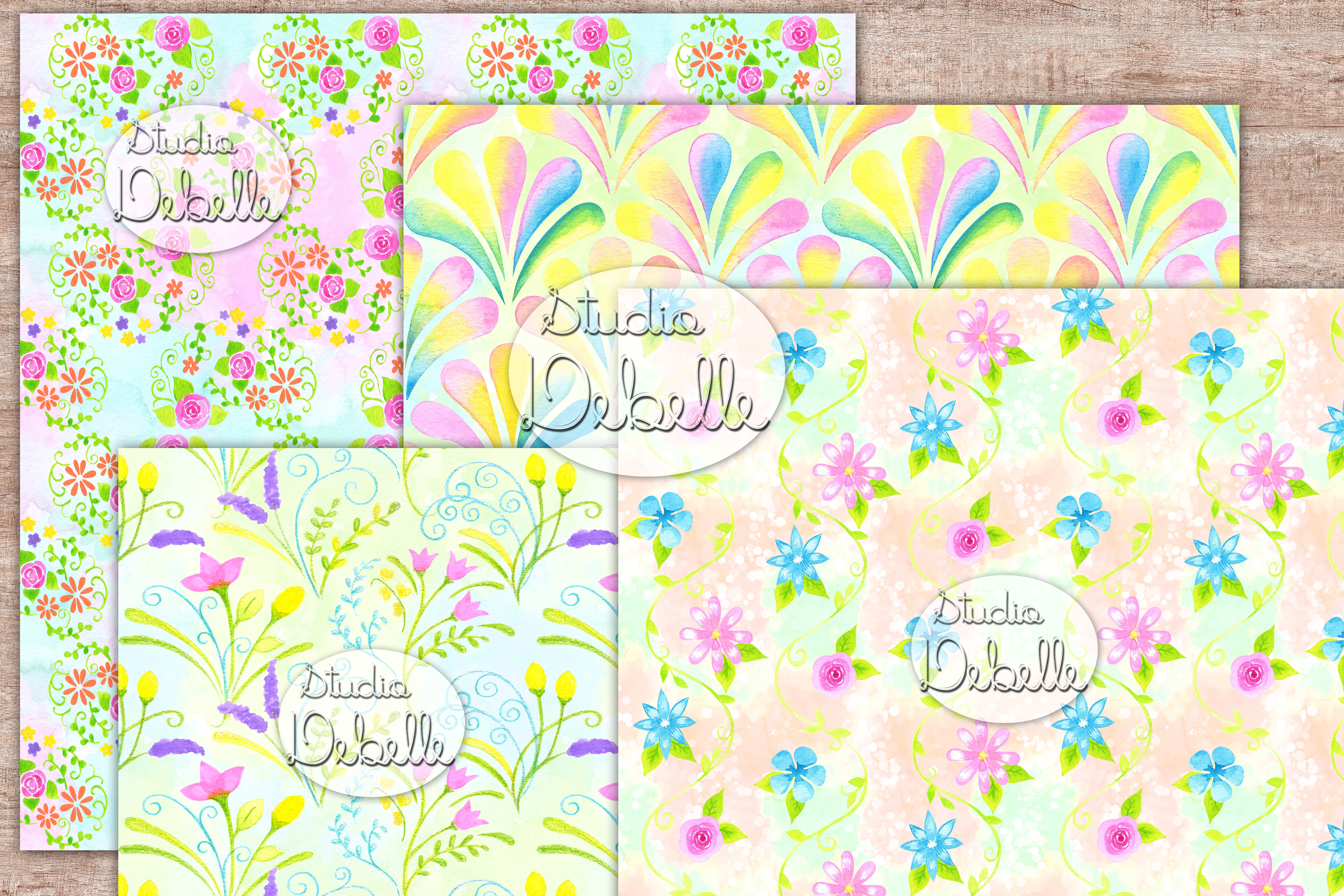 Watercolor Lovely Flowers - digital papers seamless patterns example image 3